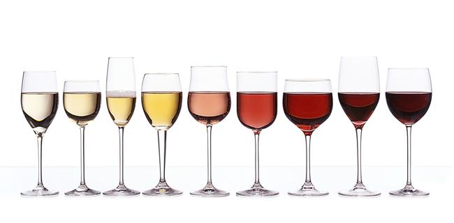 El diseño de copas de vino